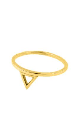 Inel triunghi cu varful in jos, Aur 14 K